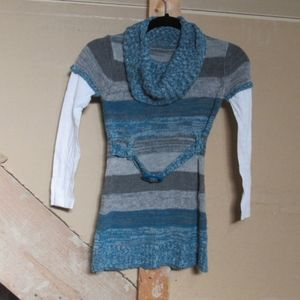 Kids girls belted blue striped cowl sweater dress